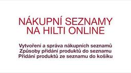 Nákupní seznamy na Hilti Online