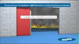 Novoferm Sicherheitsbremsleiste bei Feuerschutz-Schiebetoren