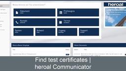 Find test certificates in the heroal Communicator | heroal services