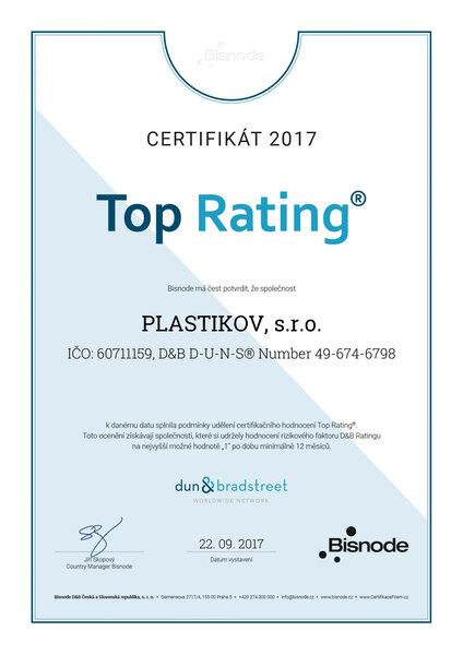 Vynikající ekonomický rating pro firmu PLASTIKOV