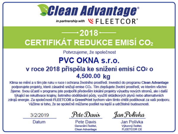 Firma PVC OKNA, s.r.o. pomáhá životnímu prostředí